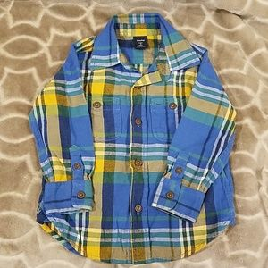 Baby Gap Blue/Yellow Plaid Button down shirt 2yrs
